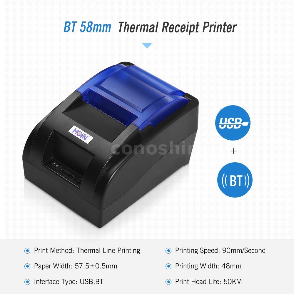 HOIN HOP-H58 58mm Thermal Receipt Printer BT&USB Bill Ticket