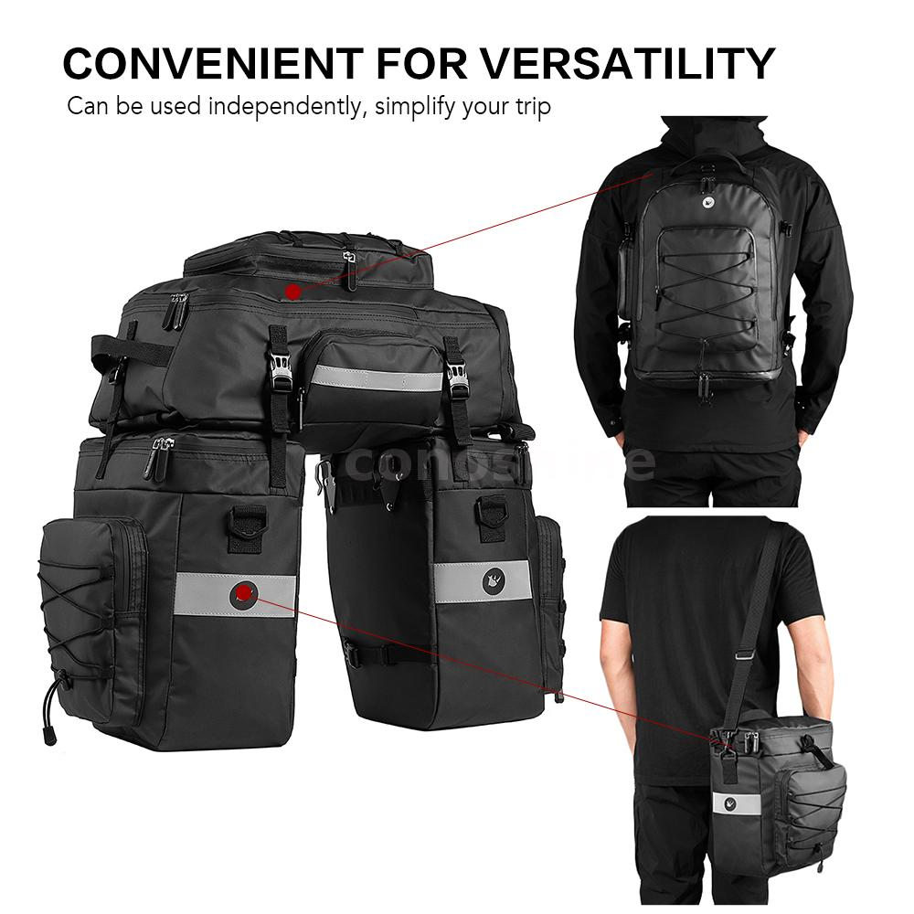 3 in 1 Bike Rear Bag Cycling Saddle Bag MTB Tail Seat Pannier Pouch w//Cover S2O6